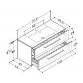 Scanbad Delta med Micca solid surface vask og 2 skuffer - H 49,5 x B 100,2 x D 45,5 cm