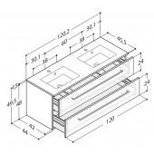 Scanbad Delta med Micca solid surface vask og 2 skuffer - H 49,5 x B 120,2 x D 45,5 cm