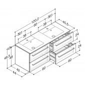 Scanbad Delta med Micca solid surface dobbelt vask og 4 skuffer - H 49,5 x B 120,2 x D 45,5 cm