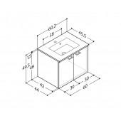 Scanbad Delta med Micca solid surface vask og 2 låger - H 49,5 x B 60,2 x D 45,5 cm