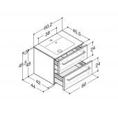 Scanbad Delta med Micca solid surface vask og 2 skuffer - H 49,5 x B 60,2 x D 45,5 cm