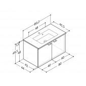 Scanbad Delta med Micca solid surface vask og 2 låger - H 49,5 x B 80,2 x D 45,5 cm
