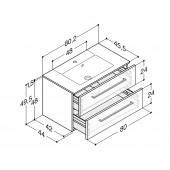 Scanbad Delta med Micca solid surface vask og 2 skuffer - H 49,5 x B 80,2 x D 45,5 cm