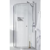 Halvrund bruseafskærmning med 1 skydedør i klar glas