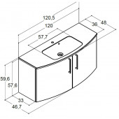 Scanbad Limbo+ med vask og 2 låger - 120,5 x 59,6 x 36/48 cm