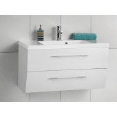 Scanbad Rumba med vask og skuffer - 90 x 52,5 x 37/50 cm - Hvid højglans