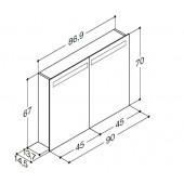 Scanbad spejlskab med integreret belysning i top - 86,9 x 67 x 14,5 cm 2 låger uden lysstyring - stregtegning