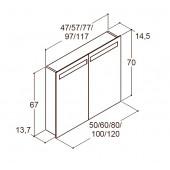 Scanbad spejlskab med integreret lys i top - H 64 / 70 x B 57 / 60 x D 19 cm - Multo