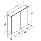 Scanbad spejlskab med integreret lys i lågerne - H 64 x B 79,9 x D 19 cm uden lysstyring