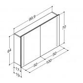 Scanbad spejlskab med integreret lys i lågerne - H 64 x B 99,9 x D 19 cm uden lysstyring