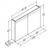 Scanbad spejlskab med integreret belysning i top - 97,8 x 67 x 14,5 cm - stregtegning