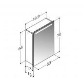 Scanbad spejlskab med integreret lys i top - H 64 x B 49,9 x D 19 cm uden lysstyring