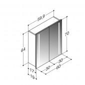 Scanbad spejlskab med integreret lys i begge sider - H 64 x B 59,9 x D 19 cm