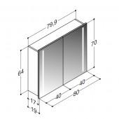 Scanbad spejlskab med integreret lys i siderne - H 64 x B 79,9 x D 19 cm