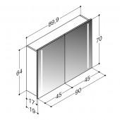 Scanbad spejlskab med integreret lys i siderne - H 64 x B 89,9 x D 19 cm