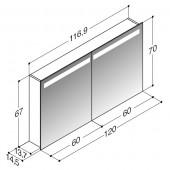 Scanbad spejlskabe med integreret belysning i top - 116,9 x 67 x 14,5 cm stregtegning