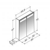 Scanbad spejlskabe med integreret belysning i top - 56,9 x 67 x 14,5 cm uden lysstyring