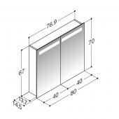 Scanbad spejlskabe med integreret belysning i top - 76,9 x 67 x 14,5 cm uden lysstyring