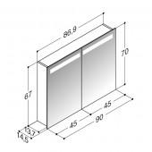 Scanbad spejlskab med integreret belysning i top - 86,9 x 67 x 14,5 cm stregtegning