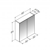Scanbad spejlskabe uden belysning - 60 x 64 x 17,8 cm - Uden lysstyring