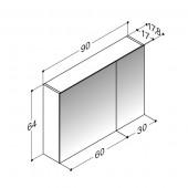 Scanbad spejlskabe uden belysning - 90 x 64 x 17,8 cm - stregtegning