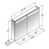 Scanbad spejlskab med spejlgavle og integreret lys i top - H 67 x B 97,8 x D 14,5 cm Uden lysstyring