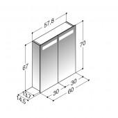 Scanbad spejlskab med spejlgavle og integreret lys i top - H 67 x B 57,6 x D 14,5 cm - Uden lysstyring - Detla