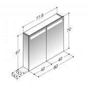 Scanbad spejlskab med spejlgavle og integreret lys i top - H 67 x B 77,8 x D 14,5 cm Uden lysstyring