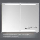 Scanbad spejlskab med integreret lys i top og bund - H 80 x B 60 x D 14,5 cm Inkl. lysstyring
