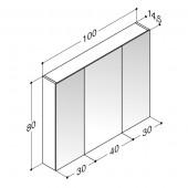 Scanbad spejlskab uden belysning med 3 låger - H 80 x B 100 x D 14,5 cm Inkl. lysstyring