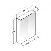 Scanbad spejlskab uden belysning - H 80 x B 60 x D 14,5 cm Inkl. lysstyring