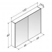 Scanbad spejlskab med lodret LED belysning - H 80 x B 100 x D 14,5 cm Inkl. underlight