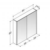 Scanbad spejlskab med lodret LED sidebelysning - H 80 x B 80 x D 14,5 cm Inkl. underlight