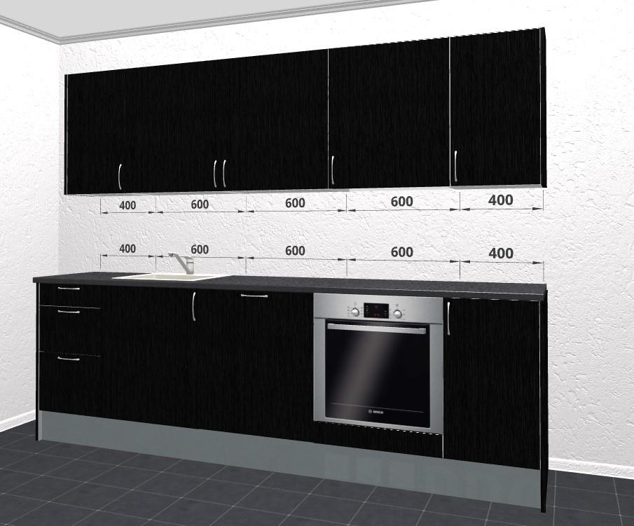 Sort Struktur Melamin køkken - super elegant køkken model