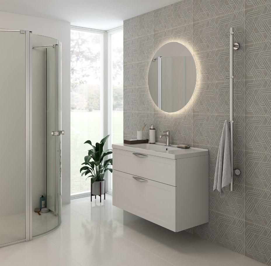 Scanbad Delta med aura vask på 100cm med 2 skuffer og smart rundt spejl med backlight