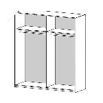 Modulpakker i hvid melamin og 3 forskellige bredder.